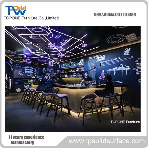 Topone Factory Artificial Marble Stone Restaurant Bar Counter Design