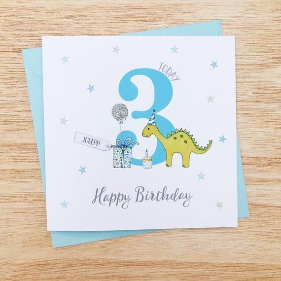 Personalised Childrens Birthday Card Dinosaur Birthday Cards Etsy Birthday Cards For Boys Birthday Cards First Birthday Cards
