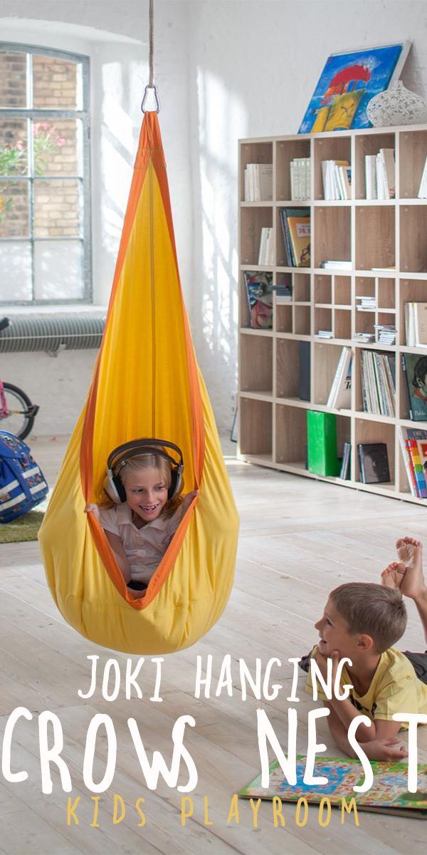 This weatherproof children's nest hangs from the ceiling like a cocoon and with its large, snuggly pillow, it's perfect for dreaming, reading or swinging| kids playroom ideas | playroom decor | indoor playroom | outdoor playroom | kid spaces #Ad