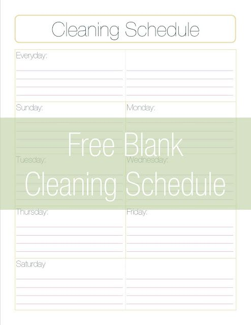 Free Printable Cleaning Schedule Template - A Dose of Paige