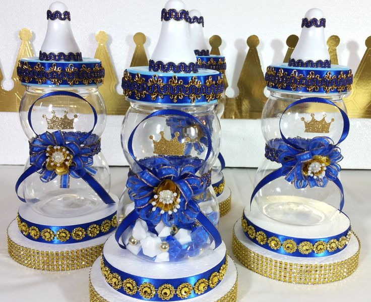 Baby Shower Centerpiece For Royal Prince Baby Shower / Boys Royal Blue & Gold Baby Centerpiece/ Prince  Baby Shower Themes and Decorations by PlatinumDiaperCakes on Etsy https://www.etsy.com/listing/264822476/baby-shower-centerpiece-for-royal-prince