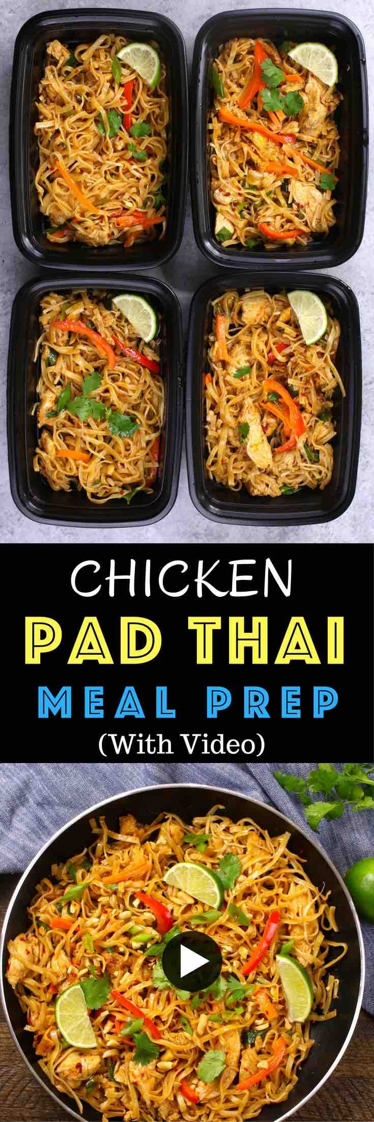 Save time and money when meal prep this authentic and delicious Chicken Pad Thai. In less than 30 minutes, you can cook dinner or lunch for the entire week! It's so much better than take outs. Make ahead recipe. Video recipe.   Tipbuzz.com
