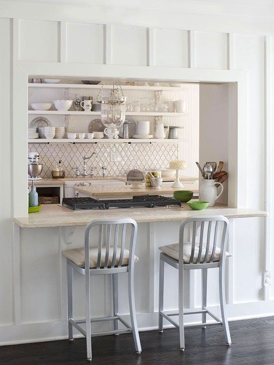 Pass through bar + Love all the details, the tile, the wall molding, the open shelving and lighting!  So pretty!