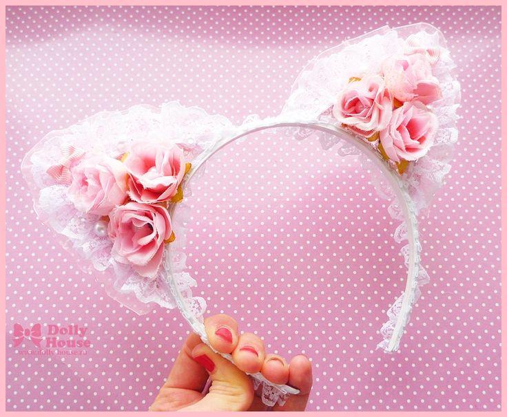 Kawaii princess style nekomimi headband by Dolly House by SweetDollyHouse on Etsy https://www.etsy.com/listing/264114258/kawaii-princess-style-nekomimi-headband
