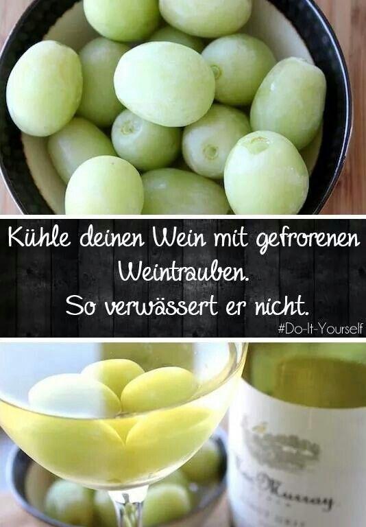 Statt Eiswürfeln einfach gefrorene Trauben in den Wein tun ;)