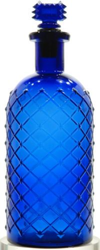 "Antique POISON BOTTLE Quilted 7-1/8"" Lattice DEEP COBALT Embss'd STOPPER Diamond"