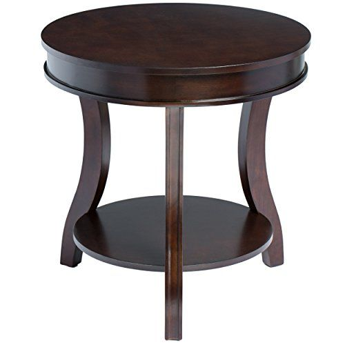 Contemporary Style Round Shaped 24inch Wooden Accent Side End Table With  Bottom Shelf Espresso Finish Home Decor Includes Modhaus Living Pen    Be  Sure To ...