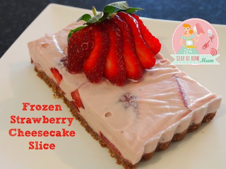 easy low carb dessert recipes, gluten free desserts recipes, traditional italian dessert recipes - Frozen Strawberry Cheesecake Slice   Stay at Home Mum #cheesecakes #dessert #strawberry