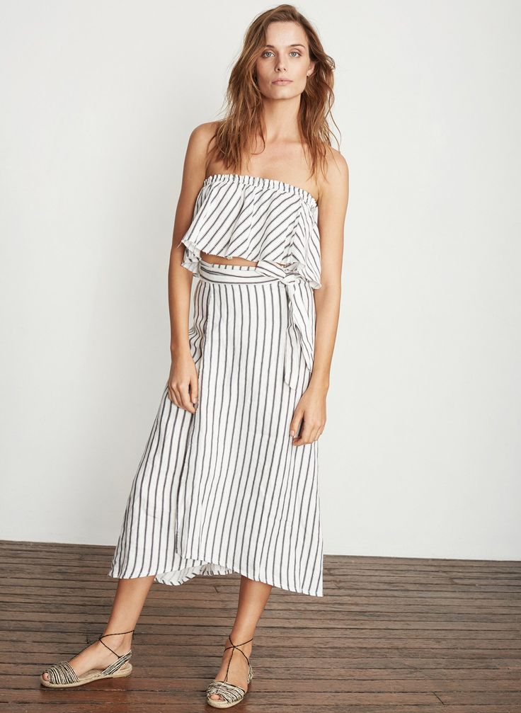 Faithfull - Caribe Wrap Skirt B&W Stripe