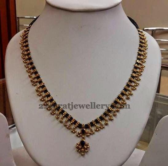 Jewellery Designs: Muvvala Haram with Black Beads