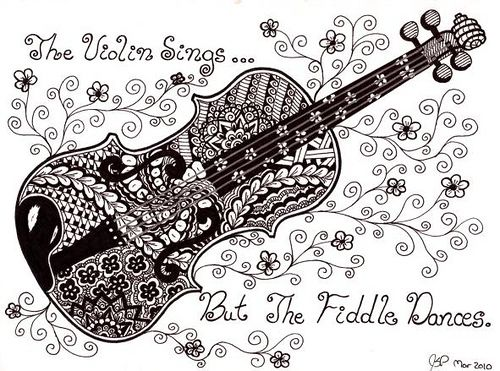 #doodle #zentangle #zendoodle I love zentangles... and I love the violin. I have two of them. I wish I had time to re-learn to play.