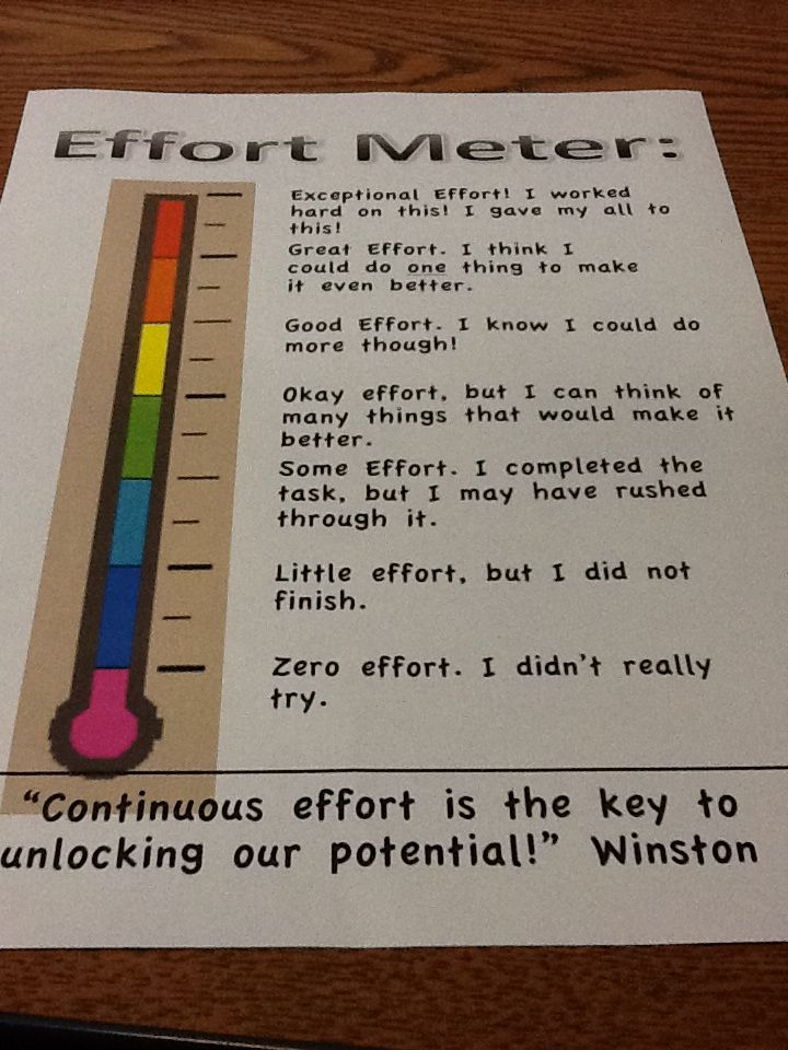 Effort meter--have students evaluate themselves.