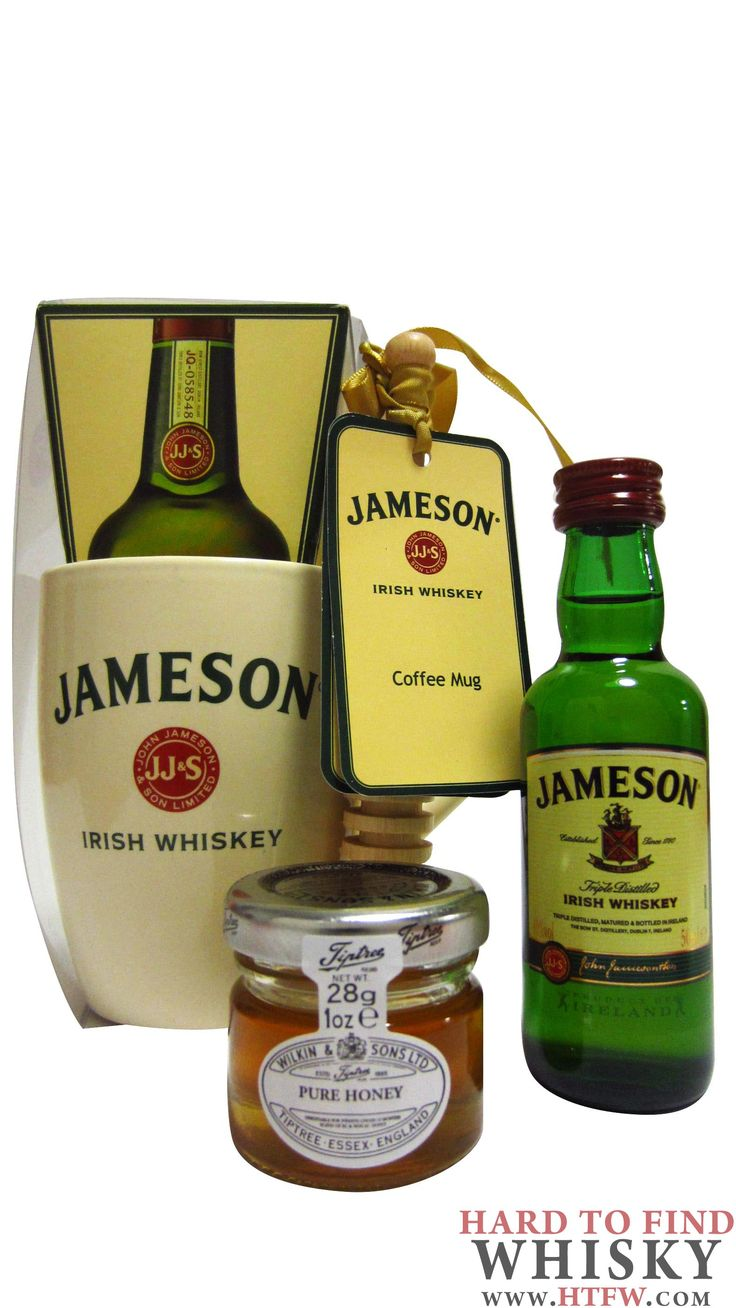 Jameson - Hot Toddy Honey Drizzler & Mug Gift Set  5cl / 50ml / 40%  A beautiful and luxurious Jameson Irish Whiskey gift set which contains the following;  1 x 5cl Miniature Bottle of Jameson Whiskey  1 x Jameson Branded Ceramic Mug  1 x Pot of Tiptree Honey  1 x Packet of Hot Toddy Spices  1 x Wooden Honey Drizzler  1 x Gift Packaging with Ribbon http://www.htfw.com/jameson-hot-toddy-honey-drizzler-mug-gift-set