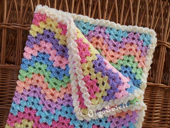 Crochet Baby Blanket- Ripple Zigzag Afghan- Striped Newborn Throw- Pram Blanket- in Pastel Colours  This gentle colours baby blanket made of soft