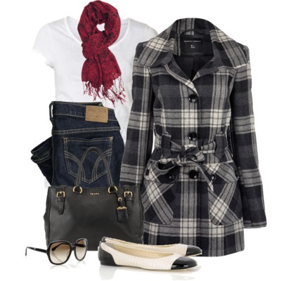 cute for fall..Plaid Coats, Fashion, Style, Clothing, Black And White, Red Scarf, Winter Outfit, Black White, Fall Outfit