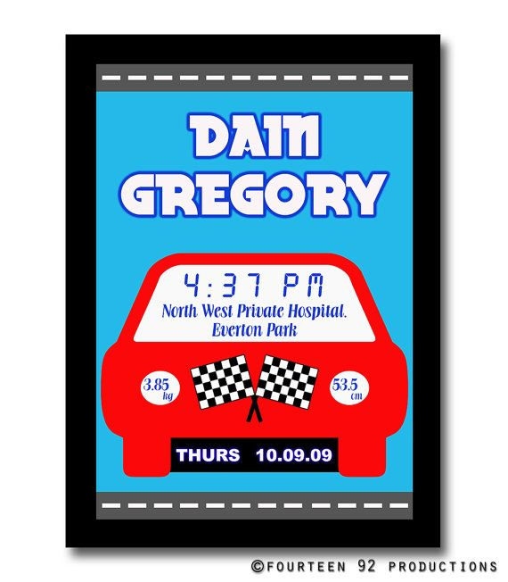 Car Birth Announcement Poster by 1492productions on Etsy