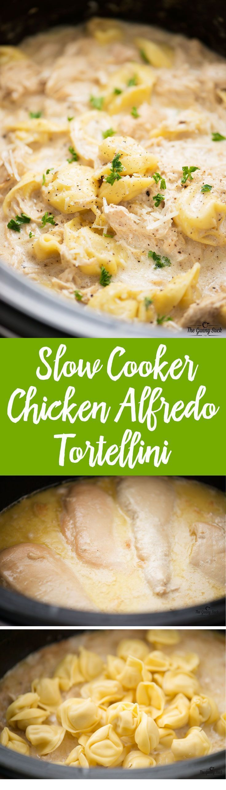 Slow Cooker Chicken Alfredo Tortellini is warm and comforting on a cold winter…