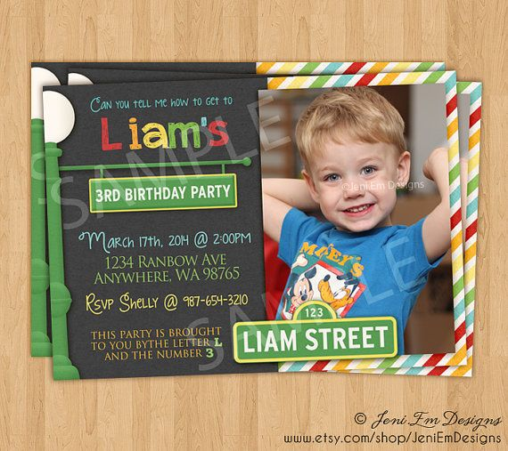 Sesame Street Birthday Invitation With Photo - Printable, For Boys & Girls