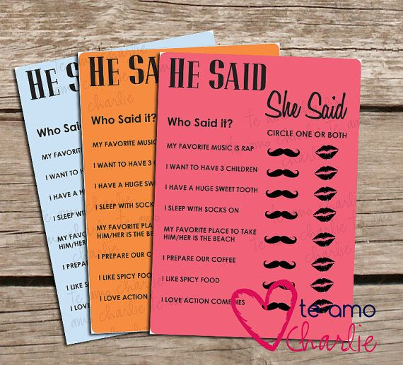 Wedding Shower Printable He Said She Said Game - Bridal Shower Game - Wedding Shower Game - Bridal Shower Printable He Said She Said Game on Etsy, $6.00