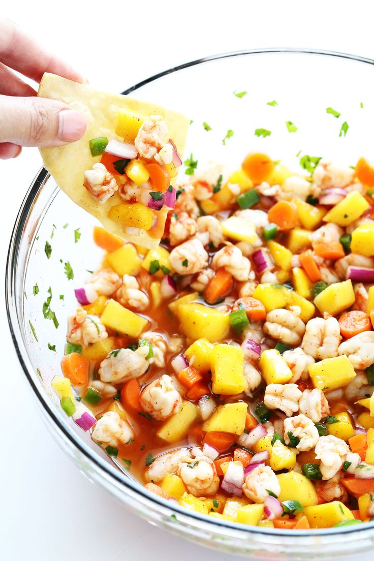 This Easy Shrimp Ceviche is made with lots of fresh mango, carrots, onion, cilantro, jalapeño and red onion, and tossed in a delicious chili-lime sauce.