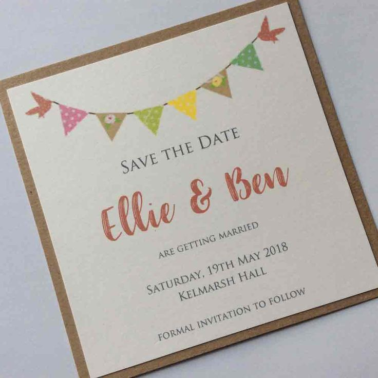 Love Birds and Bunting Save the Date
