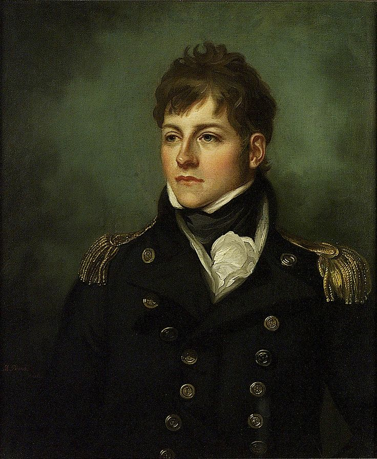 Captain George Miller Bligh by Mather Brown. A half-length facing portrait to the left in captain's (over three years) undress uniform, 1795-1812, with gold epaulettes. Bligh became a captain in 1808. As a lieutenant he was severely wounded by a musket ball at the Battle of Trafalgar and was in 'Victory's' cockpit when Nelson died there (see BHC2894). The artist was an American-born painter who worked in England.