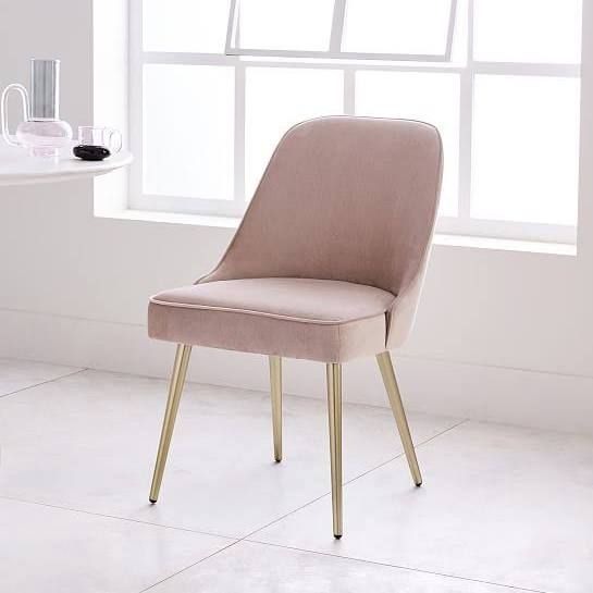 Mid-Century Upholstered Dining Chair, Plush Velvet, Wasabi at West Elm - Dining Chairs - Dining Room Furniture