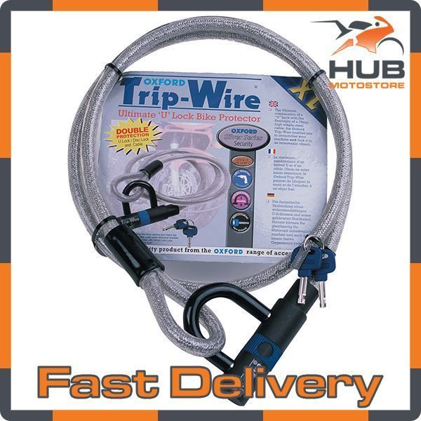 Oxford Trip-Wire 1.6m Motorcycle Motorbike Security Cable & Padlock - Silver