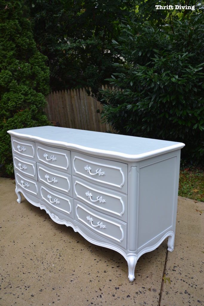 DIY Dresser Makeover French Provincial Dresser - This $40 dresser from the thrift store was in great condition but very outdated! It needed a makeover. See the entire makeover and video tutorial on the blog! - Thrift Diving