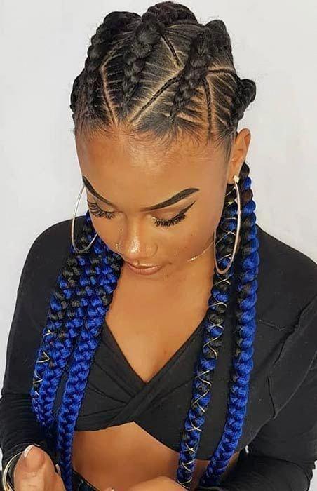 Blue Ombre Cornrow Braids #goddessbraids #feedinBraided