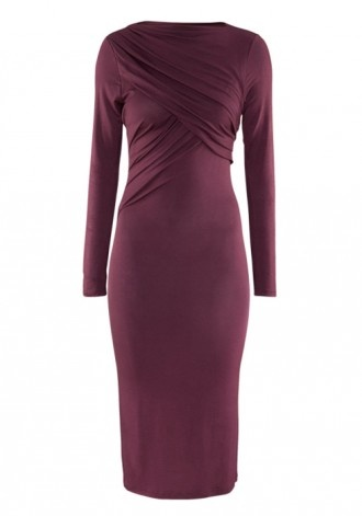 Dark Purple Ruffle Long Sleeve Maxi Modal Dress $40.53  www.cichic.com