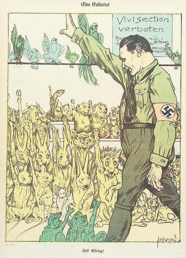 Звери кидают зигу Герингу в благодарность за отмену вивисекции. Борьба за права животных в нацистской Германии, 1933