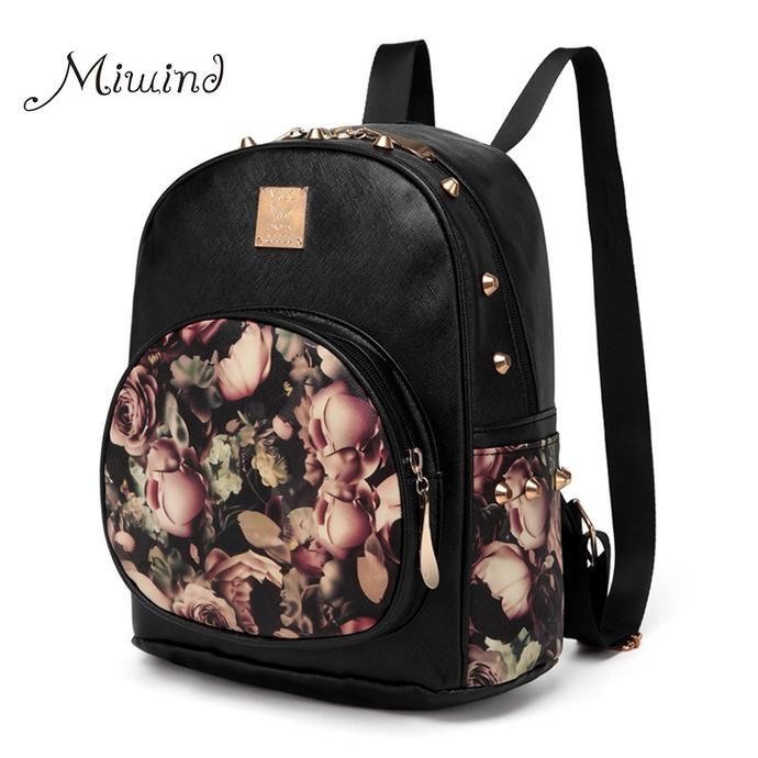 41b1507fd8b Women 3D Printing Floral PU Leather Rivet Backpack   Backpacks ...