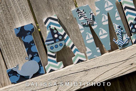 Custom Nursery Wooden Letters, Baby's Nursery - Nautical Theme Custom Letters (whale, boat, anchor) on Etsy, $14.81 CAD