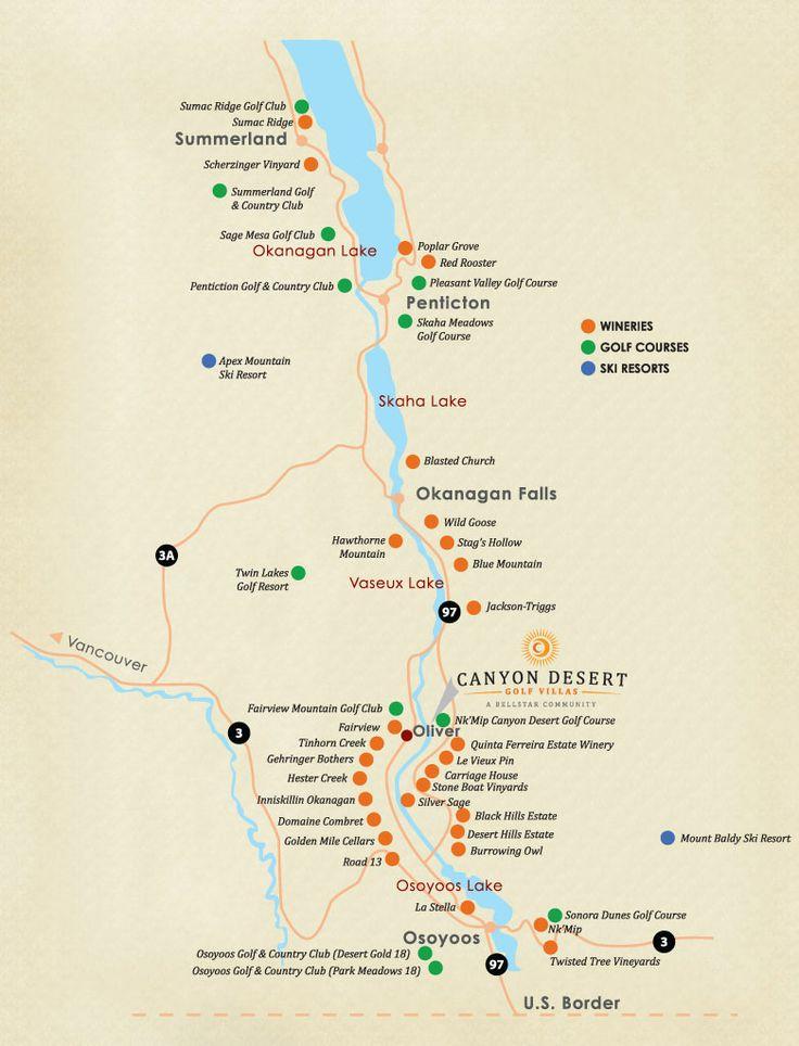 Map of Okanagan wineries.