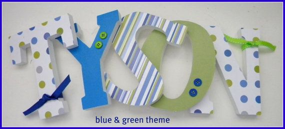 Wooden Letters Wall letters Blue and Green por dwellingonline