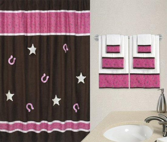 Diy easy western themed shower curtain associated for Pink brown bathroom ideas