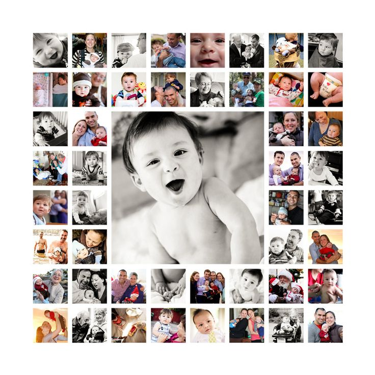 "20""x20"" Photo Collage Canvas AND Digital File (baby's 1st year, newborn photo shoot, wedding). $450.00, via Etsy."