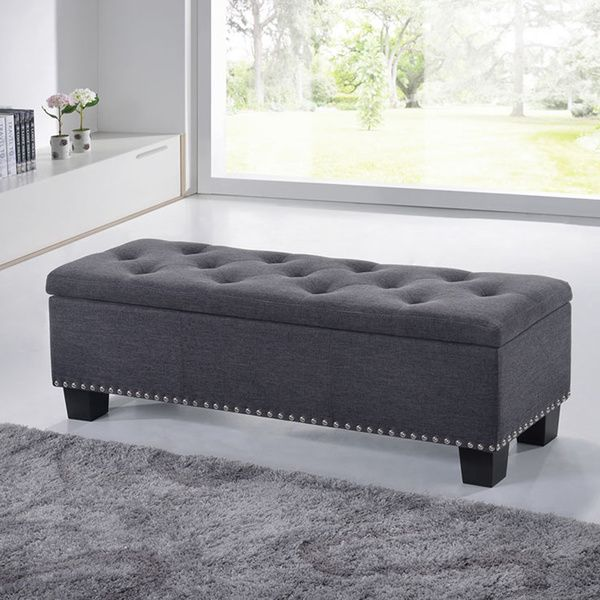 1000 ideas about modern ottoman on pinterest leather bed frame ottomans and club chairs Gray storage bench