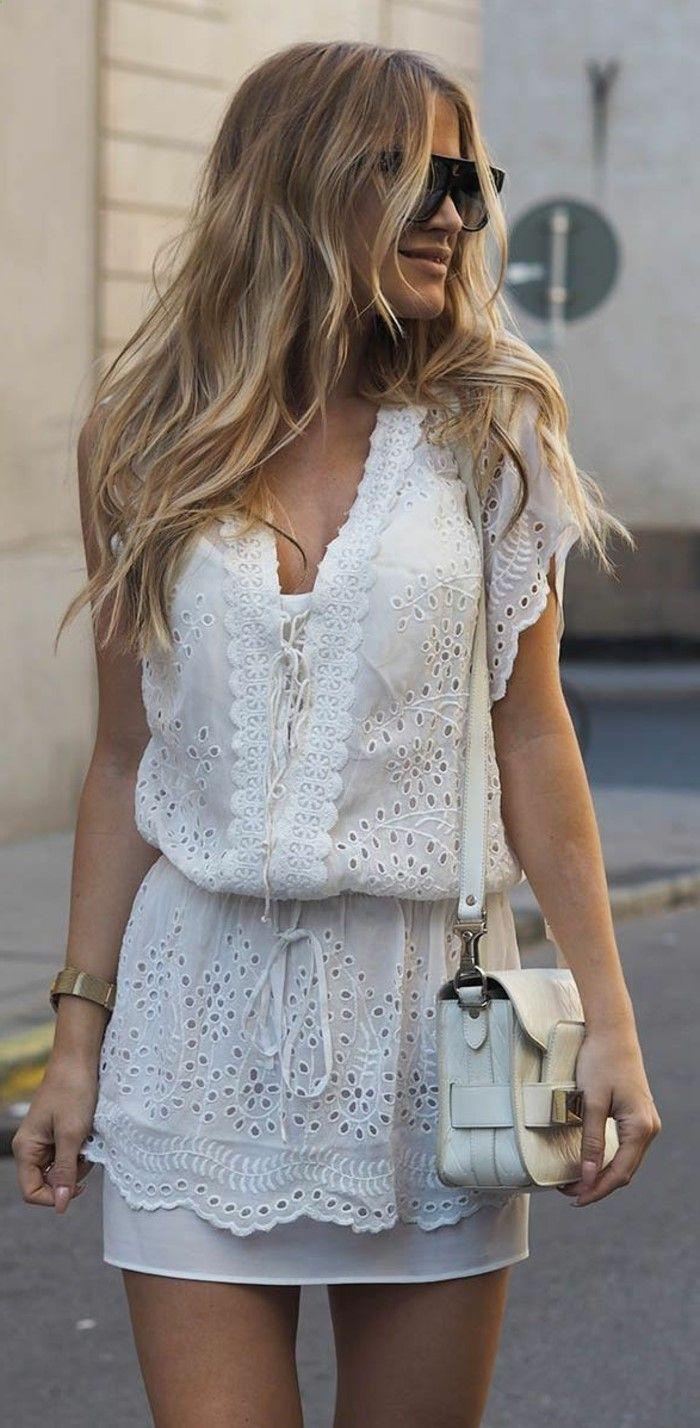 Tenue été robe en dentelle blanche robe blanche dentelle courte amzn.to/2sUF3NQ