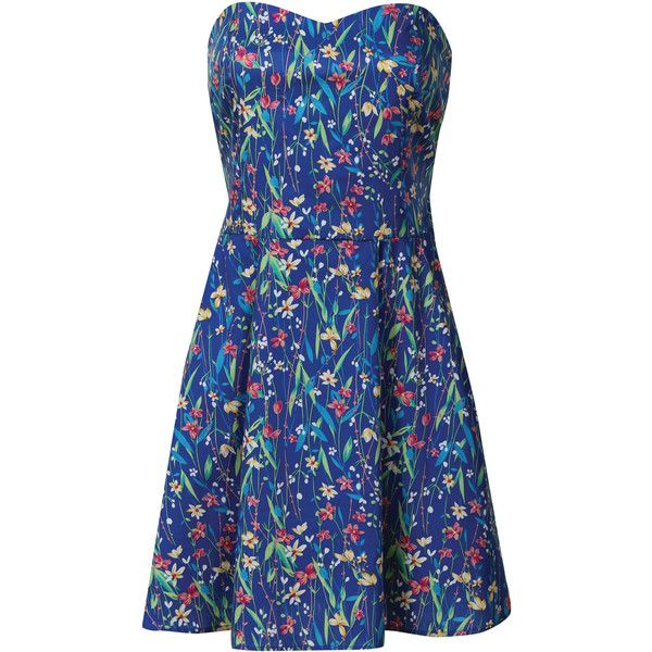 Emily May Blue Floral Print Bandeau Dress ❤