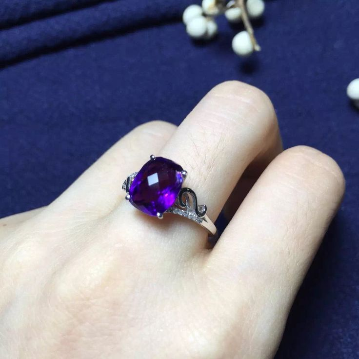 Aliexpress.com : Buy real 18k white gold natural 7*10 top grade Uruguay amethyst 3.1ct fine jewelry ring from Reliable ring jewelry storage suppliers on Serena's Jewelry