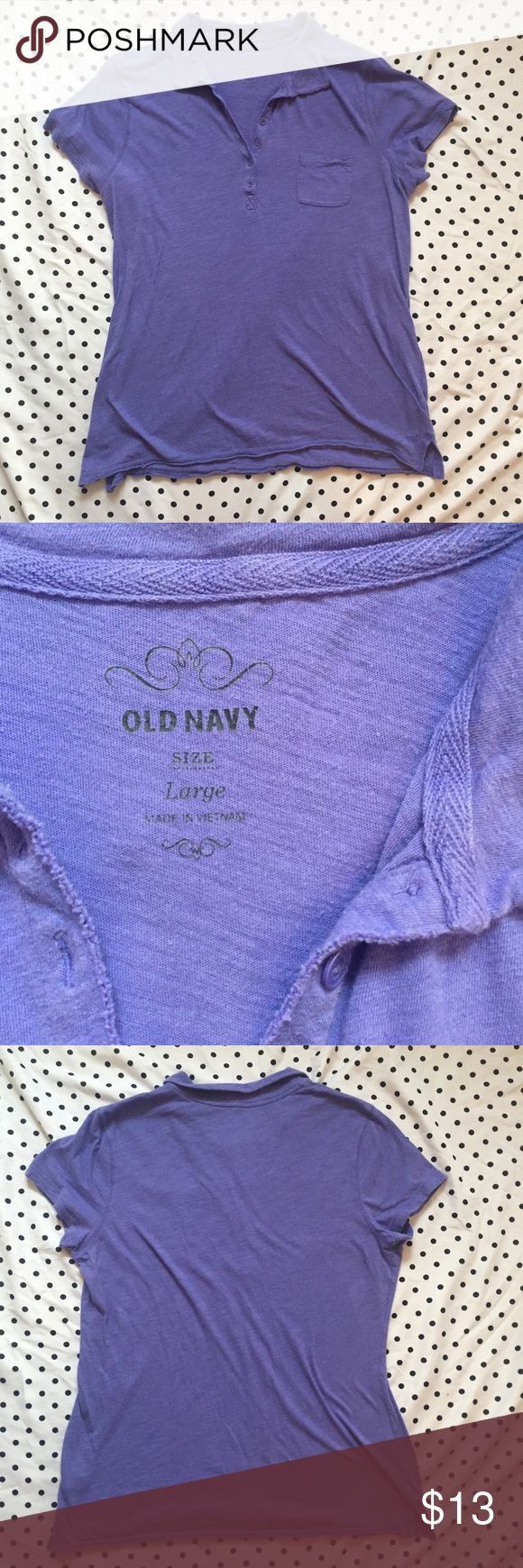 Lavender Purple Old Navy Polo Shirt •Good •Old Navy. Minor wear. Soft T-Shirt material polo collar shirt. Small front pocket.  ~basics, simple, minimal, classic style, preppy~ Old Navy Tops Tees - Short Sleeve
