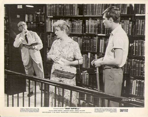 Hot Spell (1958).  Shirley Booth is shushed while visiting her son, who works as a clerk.