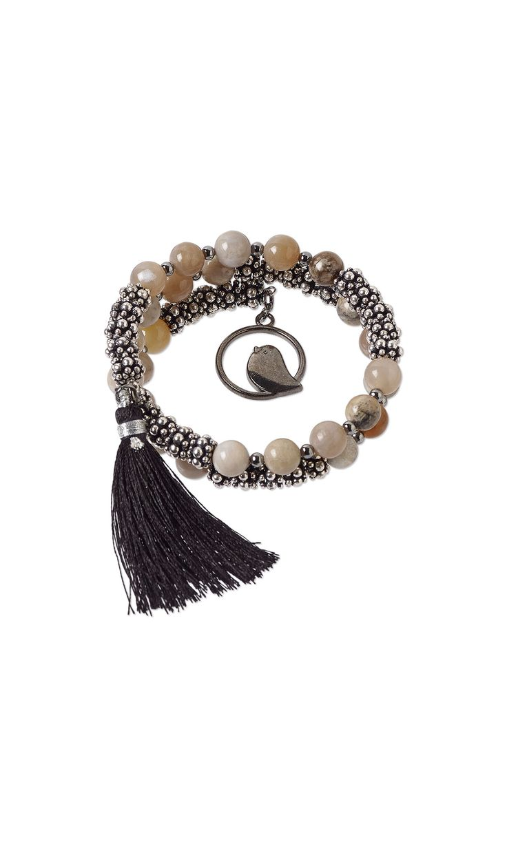 jewelry design memory wire bracelet with dendritic ocean agate gemstone beads gunmetal plated pewter drops and silk tassel fire mountain gems and - Jewelry Design Ideas
