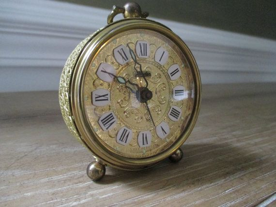 Vintage Victorian Alarm Clock ~ Ornate Gold Tone Filligree Perfect Valentine's Day Gift