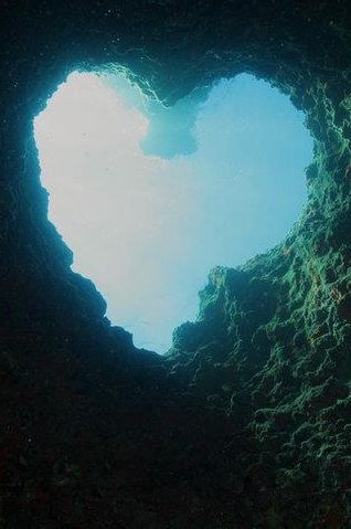 Heart shaped underwater cave