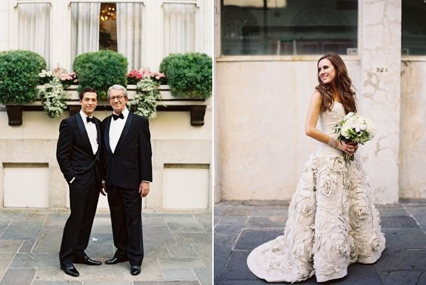 New Orleans Black Tie Wedding - hair and wow that dress! (Amsale - http://amsale.com/bridal/)