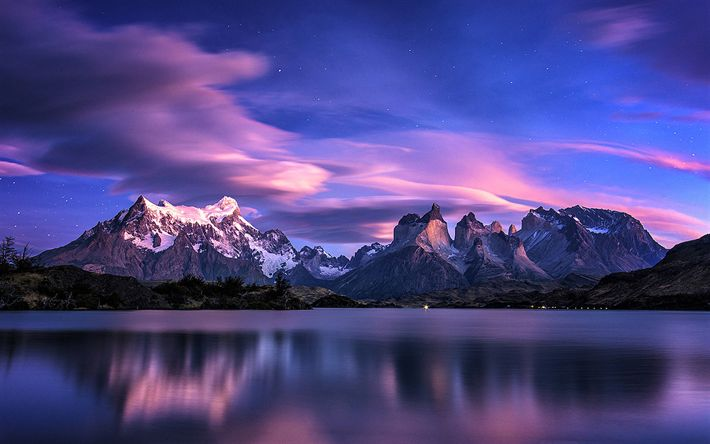 Download wallpapers Patagonia, nightscapes, mountains, lake, Chile