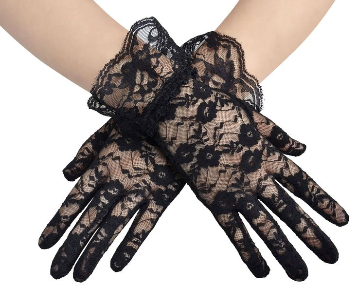 Deceny CB Short Lace Gloves for Women Wrist Length Floral Gloves for Wedding (Black)